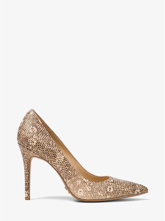 Claire Lizard-Embossed Leather Pump