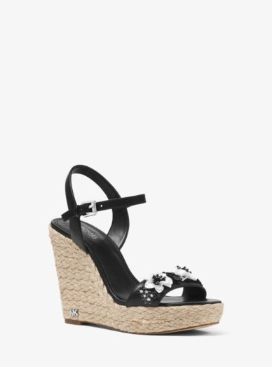 Jill Floral Sequined Leather Wedge Michael Kors