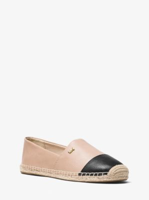 마이클 마이클 코어스 켄드릭 에스파듀르, 가죽 Michael Michael Kors Kendrick Leather Slip-On Espadrille,OYSTER/BLK