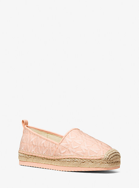 마이클 마이클 코어스 Michael Michael Kors Lenny Logo Embroidered Canvas Slip-On Espadrille,SOFT PINK