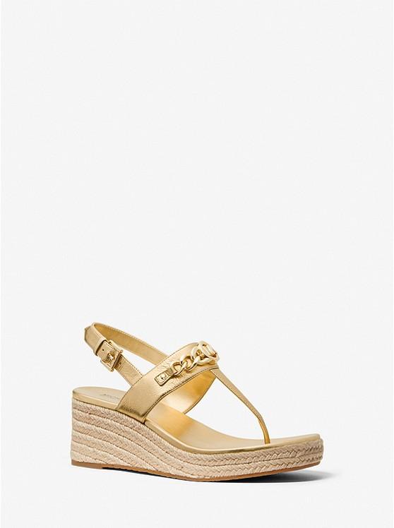 Roxane Embellished Metallic Leather Wedge Sandal