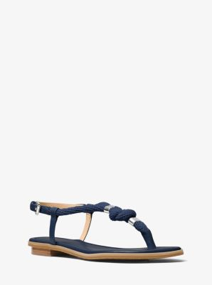 32b41a2f63b5 Holly Rope-Trim Leather Sandal