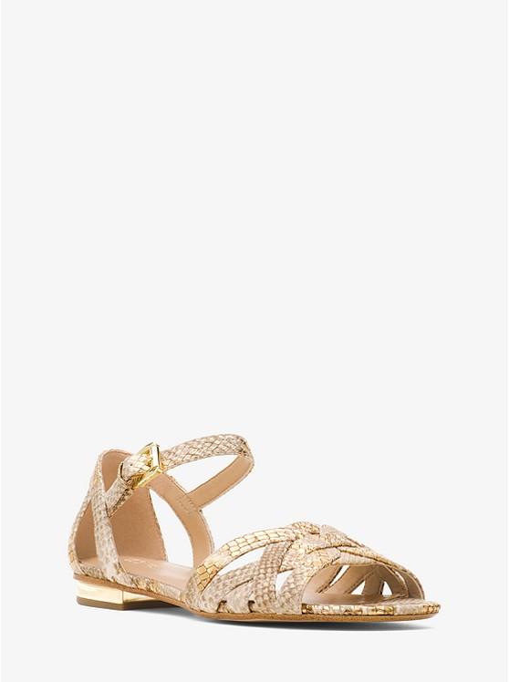 Annaliese Metallic Embossed-Leather Sandal