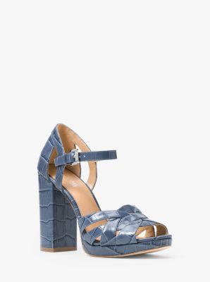 Annaliese Embossed Leather Platform Sandal Michael Kors