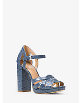 Annaliese Embossed-Leather Platform Sandal