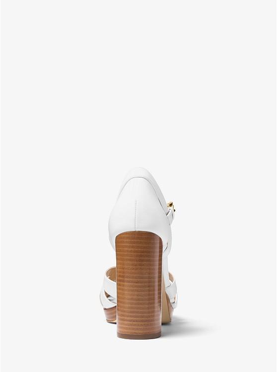 Annaliese Leather Platform Sandal Michael Kors