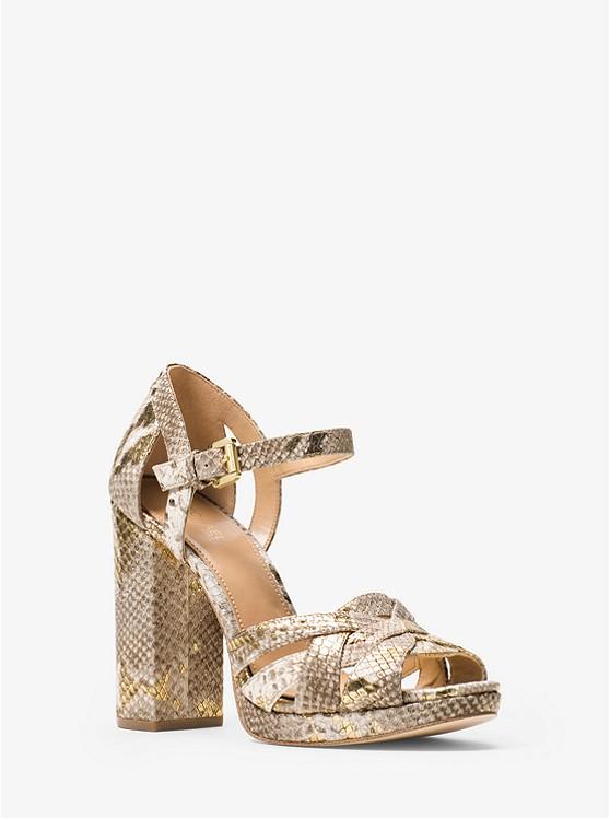 Annaliese Metallic Embossed-Leather Platform Sandal