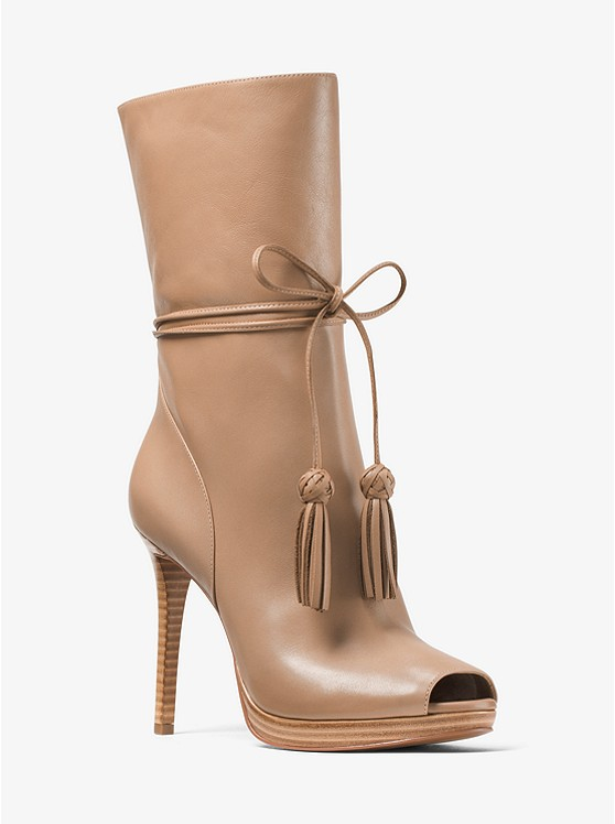 Rosalie Leather Open-Toe Mid-Calf Boot