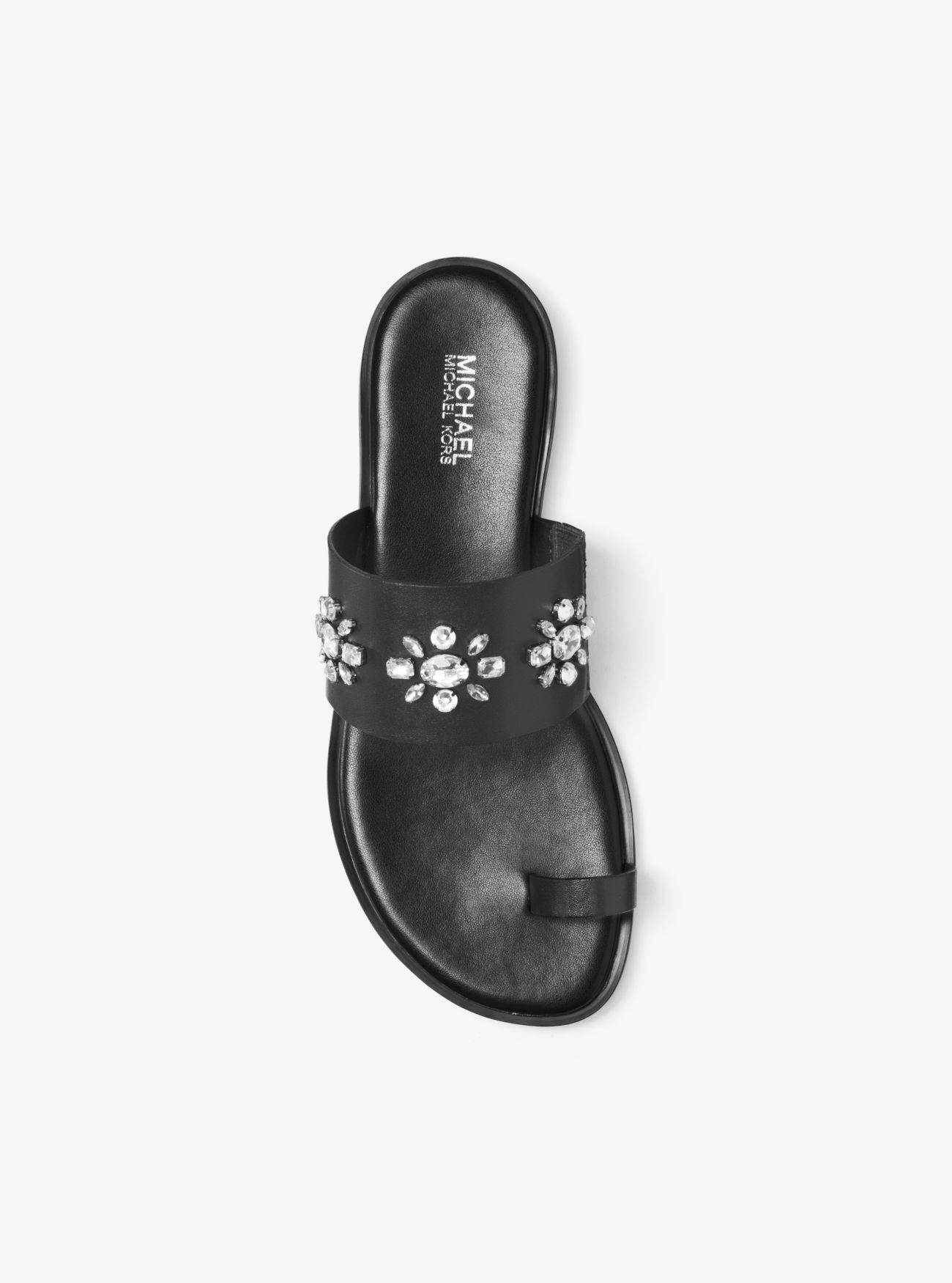 Black sandals michael kors -  Sonya Embellished Leather Sandal Michael Michael Kors