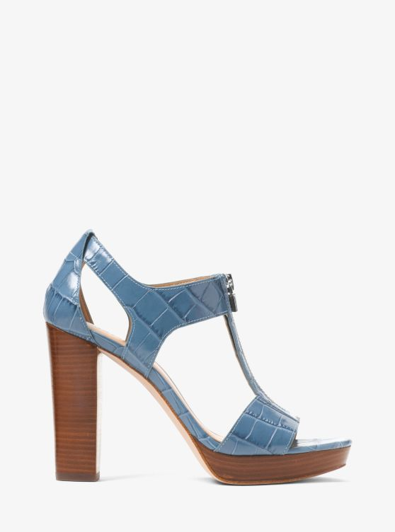 Berkley Lock Crocodile-Embossed Leather Platform Sandal