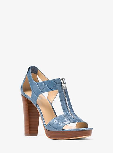 Mens Sandals Michael Kors Doris Metallic Platform Sandals Platinum Sandals White Outlet Shop