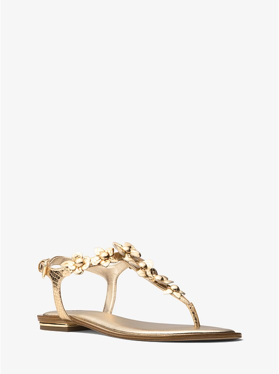 0d518376a Tricia Floral Appliqué Metallic Embossed Leather Sandal preview0
