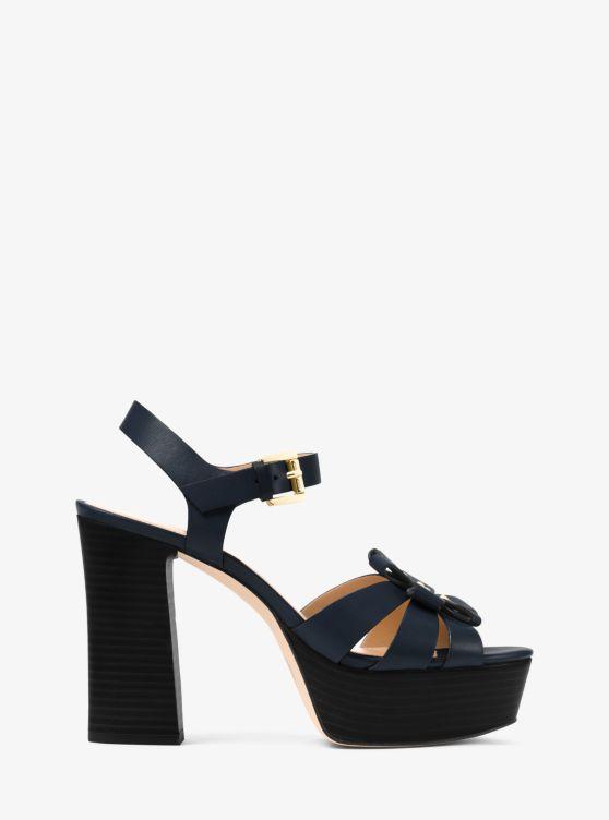 Tara Floral Applique Block Heel Platform Dress Sandals
