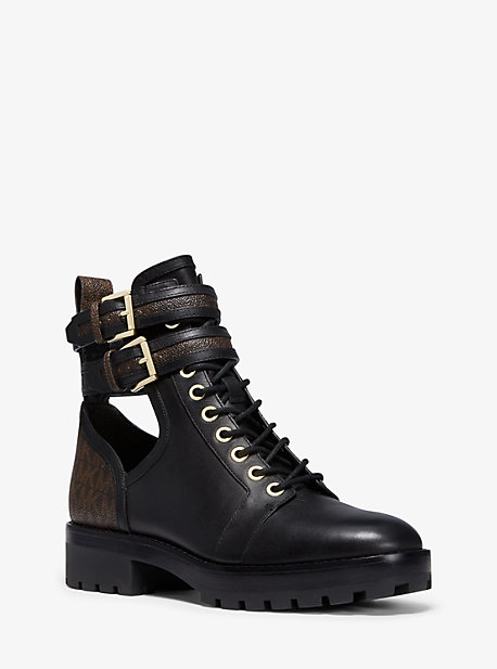 76fdbc4523e Bensen Logo and Leather Combat Boot. michael michael kors · Bensen Logo and  Leather Combat Boot