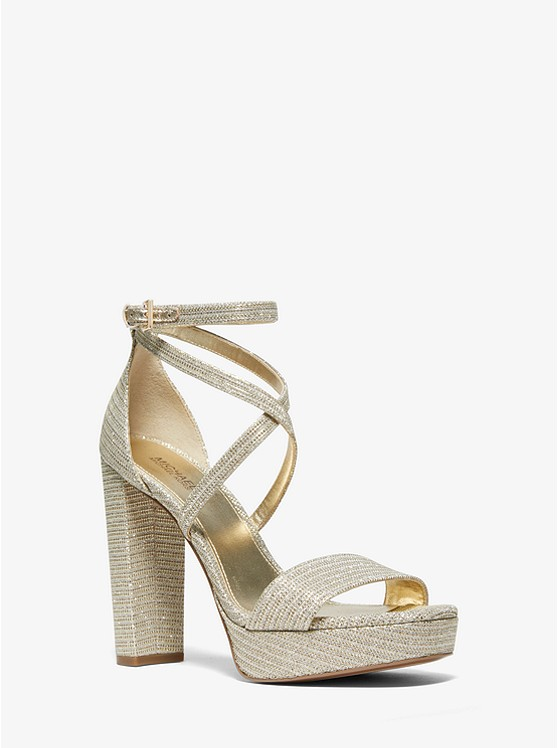 Charlize Glitter Chain Mesh Platform Sandal by Michael Michael Kors