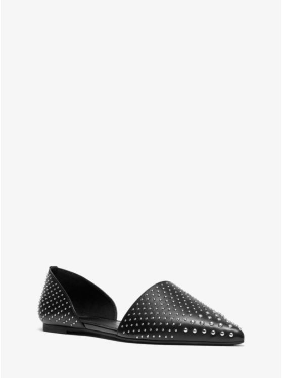 Mila Studded Leather D'Orsay Flat
