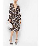 Floral Satin-Jersey Plunge Dress