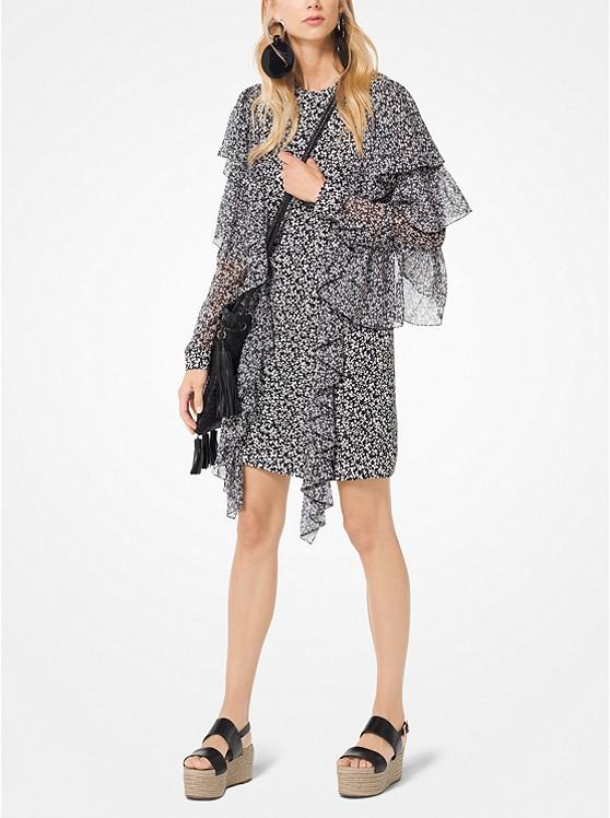 Floral Ruffled Silk-Georgette Shift Dress