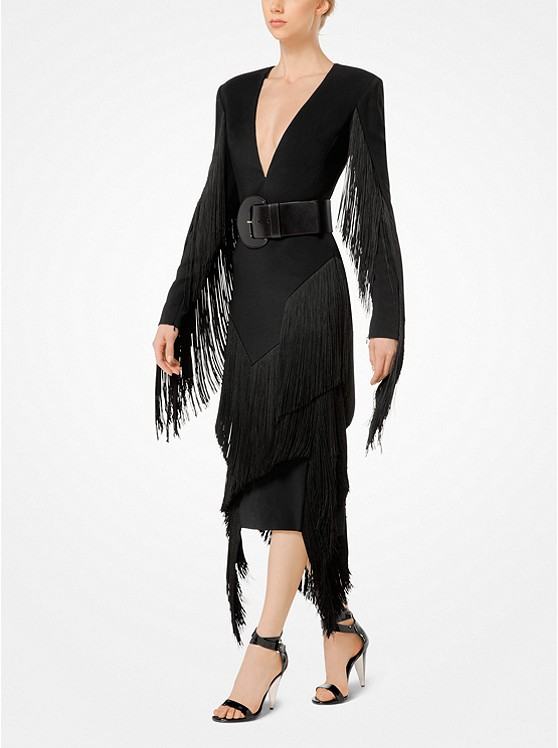 Fringed Stretch-Cady Plunge Dress