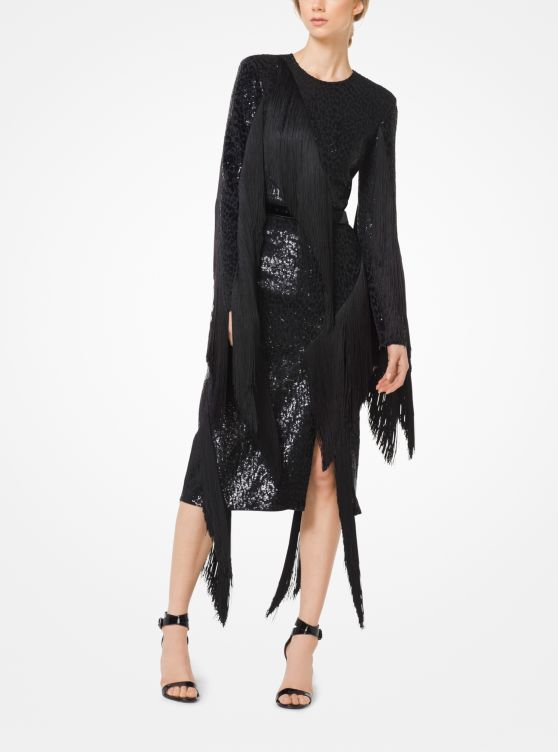 Sequined Fringed Stretch-Cady Dress