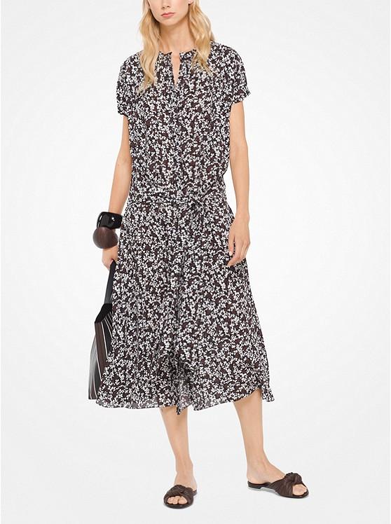 Mini Floral Silk-Georgette Shirtdress