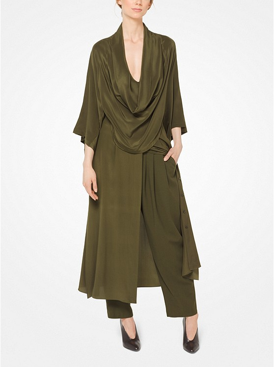 Silk-Georgette Cowl-Neck Shirtdress