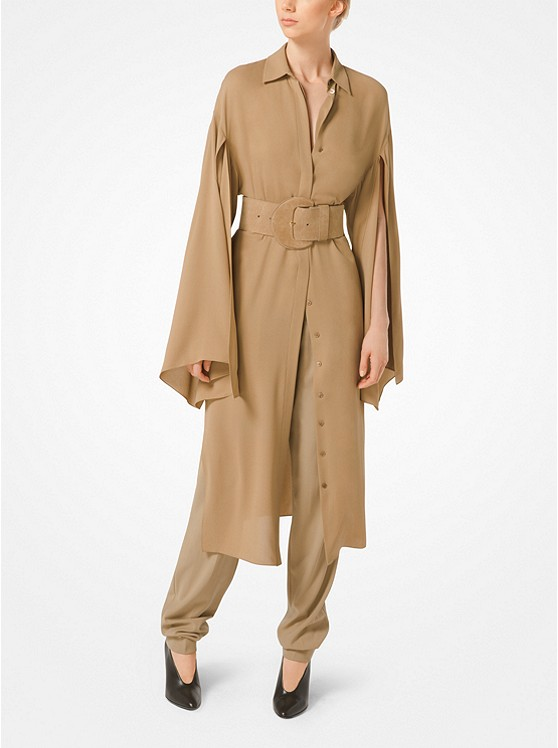 Silk-Georgette Slit-Sleeve Shirtdress