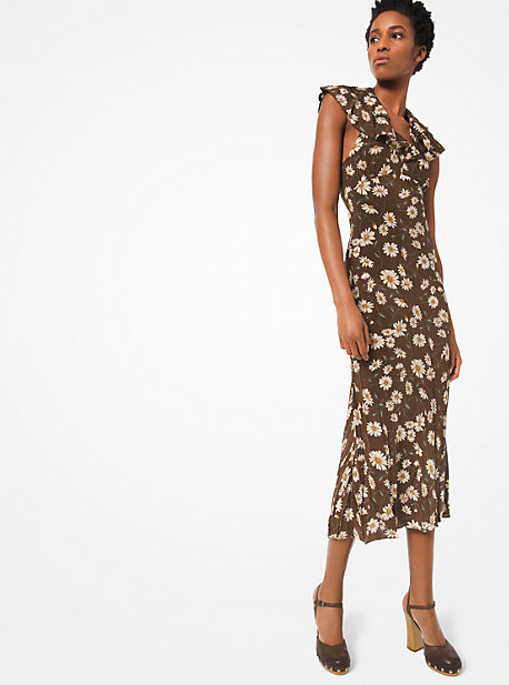 56e89bc41d Daisy Crushed Silk Crepe De Chine Ruffled Halter Dress · michael kors  collection ...