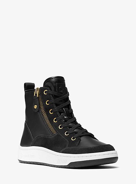 마이클 마이클 코어스 시어 스니커즈 Michael Michael Kors Shea Leather and Suede High Top Sneaker,BLACK
