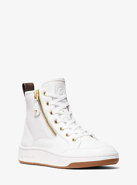 마이클 마이클 코어스 시어 스니커즈 Michael Michael Kors Shea Logo and Leather High Top Sneaker,OPTIC WHITE