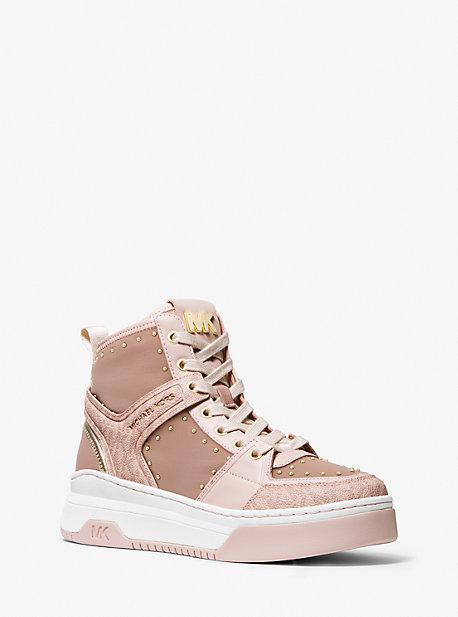 마이클 마이클 코어스 스니커즈 Michael Michael Kors Lexi Embellished Nylon and Logo High-Top Sneaker