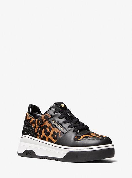 마이클 마이클 코어스 스니커즈 Michael Michael Kors MKGO Lexi Leopard Print Calf Hair Sneaker,BUTTERSCOTCH