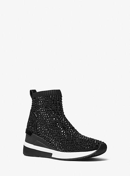 마이클 마이클 코어스 스카일러 삭스슈즈 Michael Michael Kors Skyler Crystal Embellished Stretch Knit Sock Sneaker,BLACK
