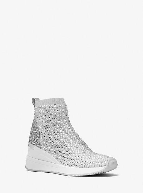 마이클 마이클 코어스 스카일러 삭스슈즈 Michael Michael Kors Skyler Crystal Embellished Metallic Stretch Knit Sock Sneaker,SILVER