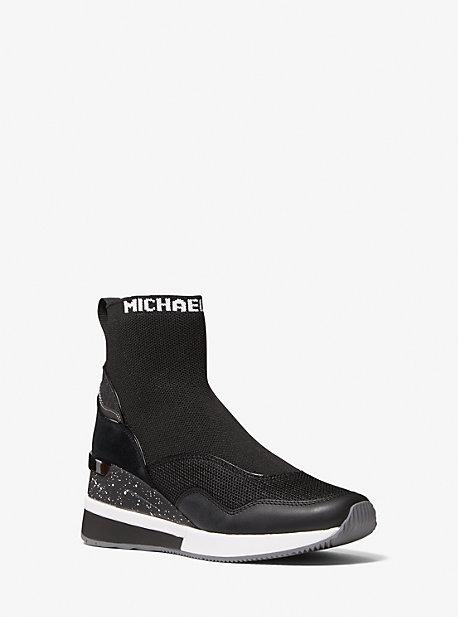 마이클 마이클 코어스 스니커즈 Michael Michael Kors Swift Stretch Knit and Leather Sock Sneaker,BLACK