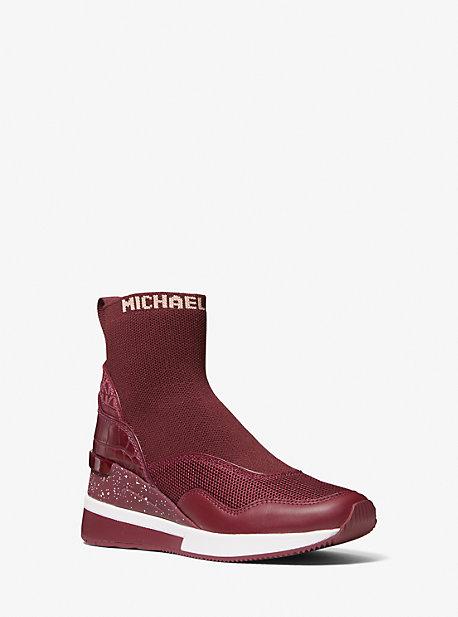 마이클 마이클 코어스 스니커즈 Michael Michael Kors Swift Stretch Knit and Crocodile Embossed Leather Sock Sneaker,DARK BERRY