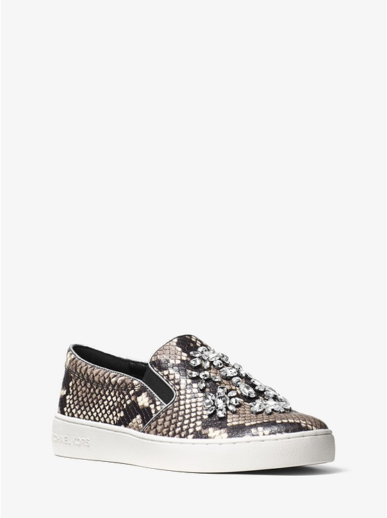 Keaton Embellished Embossed-Leather Slip-On Sneaker