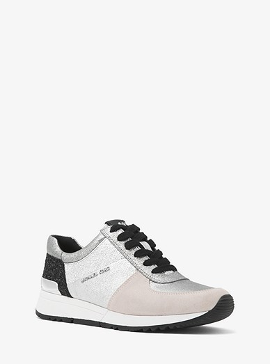 ebf9f38e95 Allie Metallic Leather And Suede Sneaker | Michael Kors