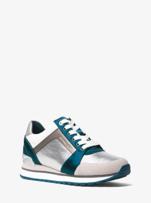 Billie Metallic Leather And Satin Sneaker by Michael Michael Kors