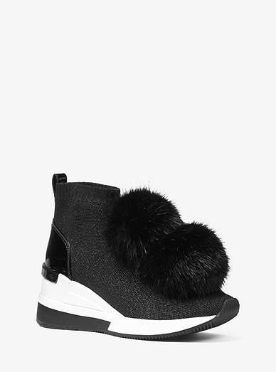 ef09c5e6f227 Skyler Pom-pom Metallic Stretch-knit Sock Sneaker