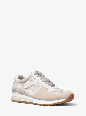 allie embossedleather and suede sneaker michael kors