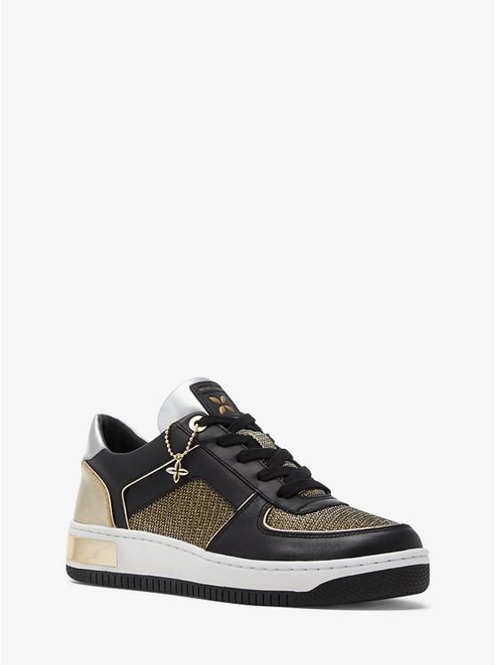 3b90e466fd Jaden Leather And Chain-mesh Sneaker   Michael Kors