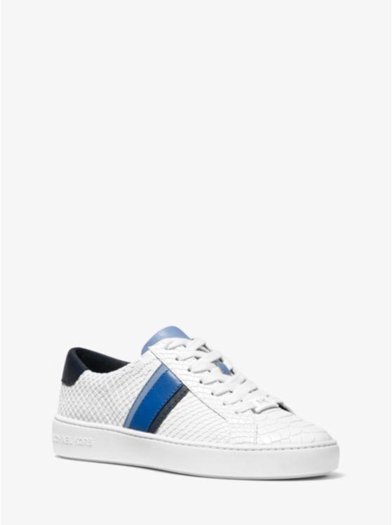 Irving Stripe Snake-Embossed Leather Sneaker