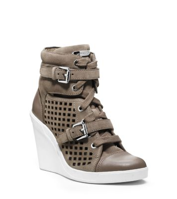 intersection acute Photoelectric  Skid Laser-Cut Suede Wedge Sneaker | Michael Kors