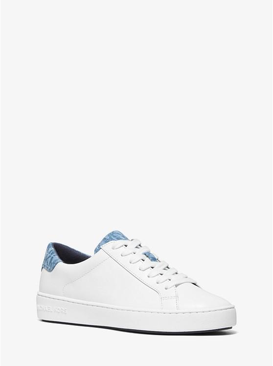 1bf18df1418 Irving Leather And Logo Denim Sneaker   Michael Kors