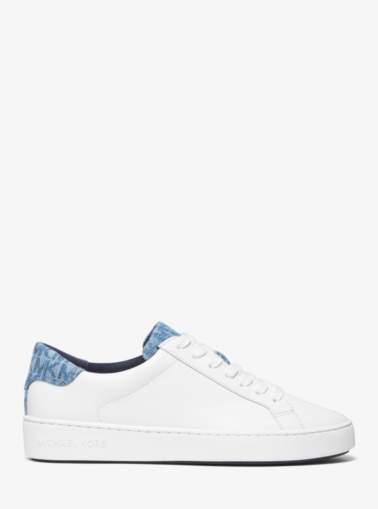 d7cc02bf650 Irving Leather and Logo Denim Sneaker Irving Leather and Logo Denim Sneaker  Irving Leather and Logo Denim Sneaker. MICHAEL Michael Kors