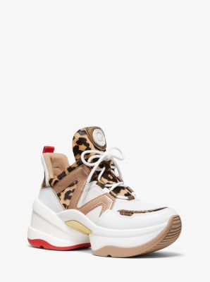 Olympia Leopard Calf Hair And Leather Trainer by Michael Michael Kors