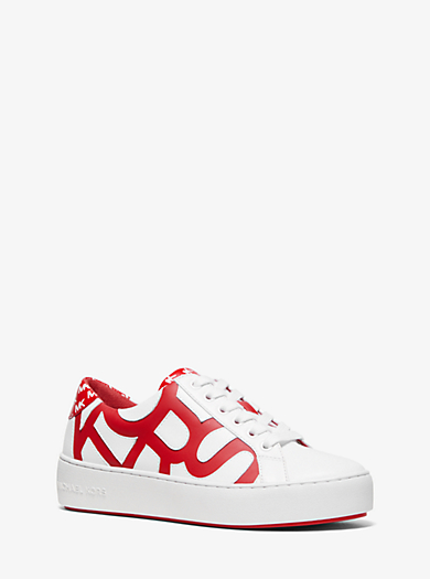 2d2c4dab08d8 Poppy Graphic Logo Leather Sneaker