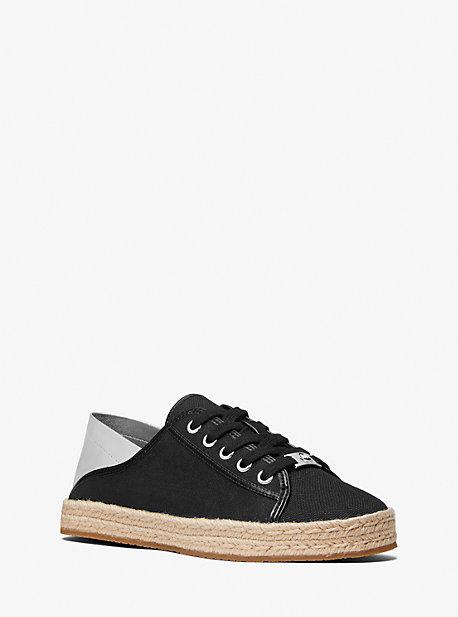 마이클 마이클 코어스 스니커즈 Michael Michael Kors Libby Linen Blend Slide Collapsible-Heel Sneaker,BLACK/SILVER