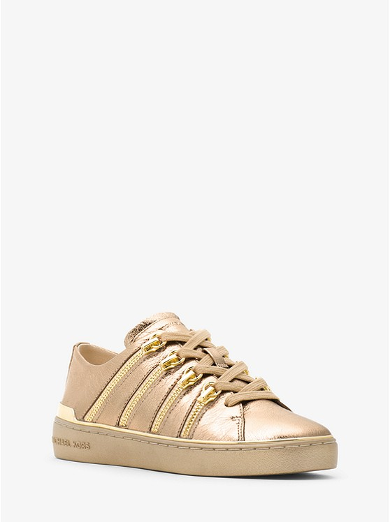 Chelsie Zipper-Trim Metallic Leather Sneaker
